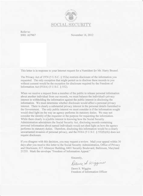Rejection Letter Social Security social security letter request form massachusetts