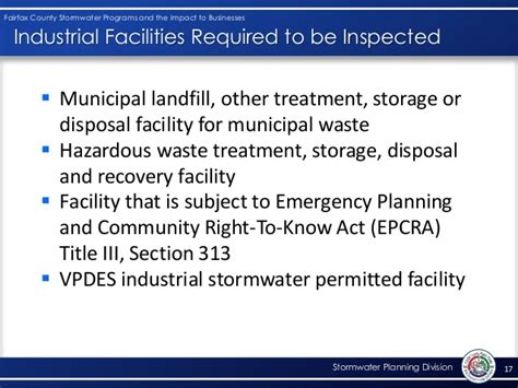 epcra section 313 fairfax county stormwater program and the impact to business