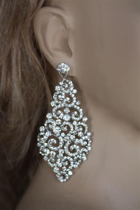 Bridal Earrings Swarovski Crystal Earrings Wedding Chandelier Earrings Bridal