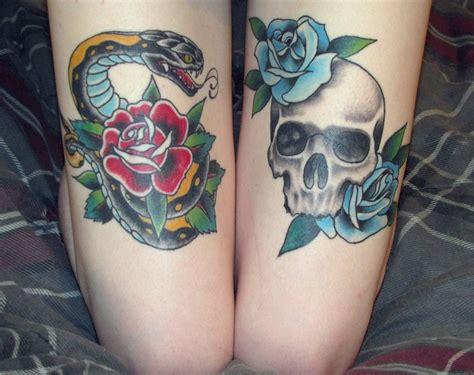 skull thigh tattoo blue roses with skull and with snake thigh