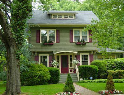 exterior paint inspiration sage green  cream trim