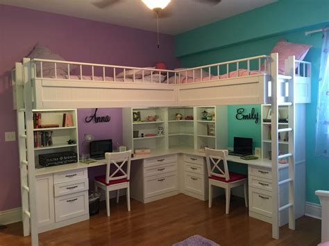 custom  dual loft beds  desks kids room decor