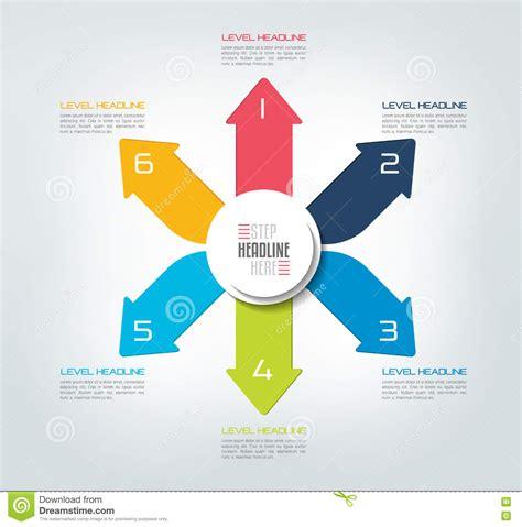 color info six directions color arrows design diagram chart