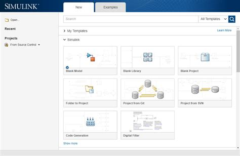 Create And Open Models Matlab Simulink Mathworks Italia Start Page Template