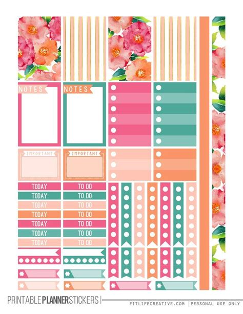 printable planner sticker template watercolor flowers happy planner stickers for the the