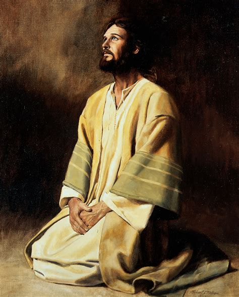 jesus kneeling in prayer and meditation