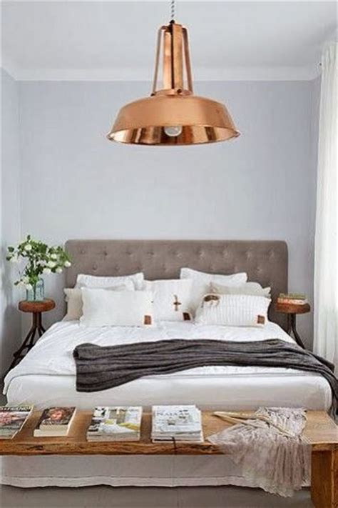 copper room decor rose gold overhead bedroom light interiors pinterest