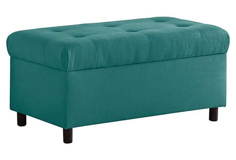 teal bench bonnie 36 quot tufted storage bench teal