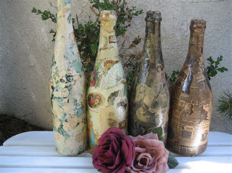Decoupage Wine Bottles - sew glorious decoupaging empty wine bottles