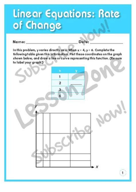 average rate of change from a table worksheet lesson zone au linear equations rate of change
