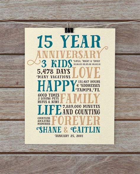 Celebrate 15 years of marriage