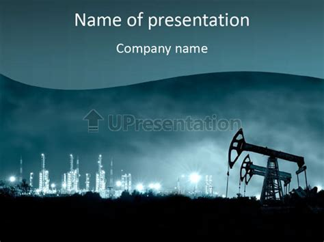 powerpoint templates free oil night oil field pump jack powerpoint template id
