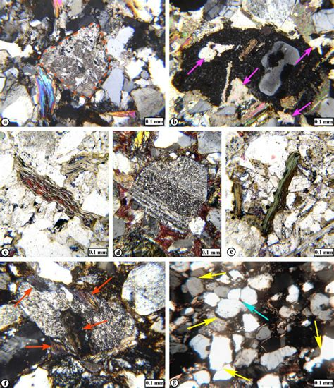 sericite in thin section a feldspar grain dashed line partly replaced by calcite the low
