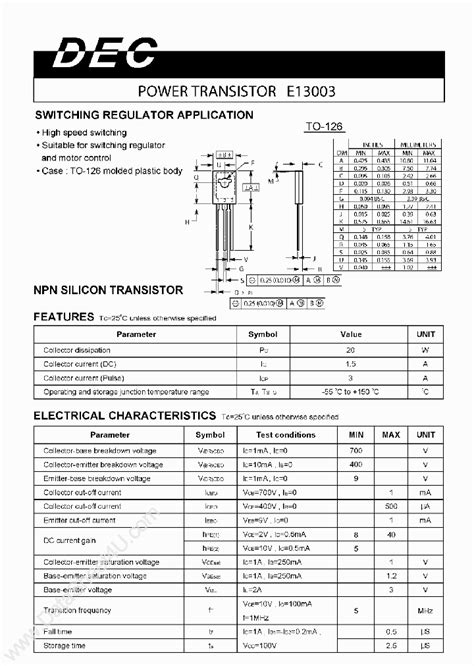 e13003 1379707 pdf datasheet ic on line