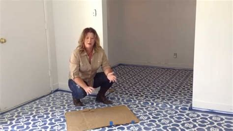 How To Install Tile Flooring In Bathroom How I Stencil A Floor Youtube