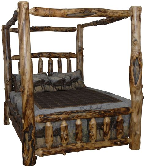 queen log bed rustic aspen log bed queen size canopy style ebay