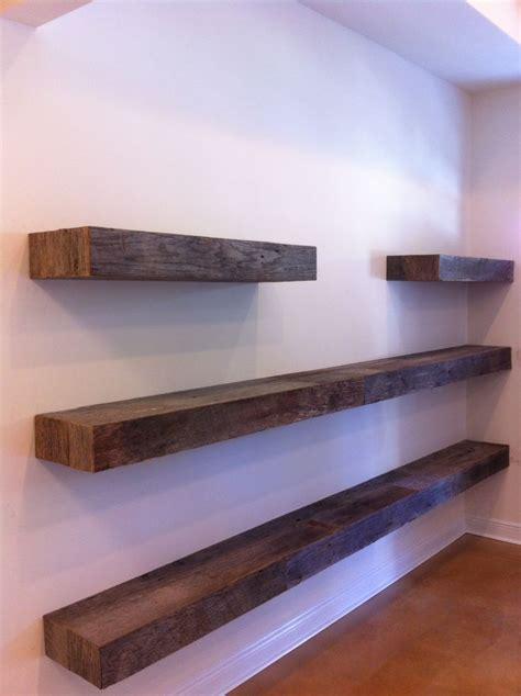 free floating shelves reclaimed gray barn board sides