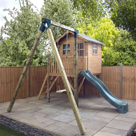 outdoor playhouse with slide and swing winchester 13 3ft x 12 2ft 4 03m x 3 71m poppy tower