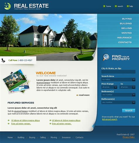 templates for real estate website real estate agency website template 17581