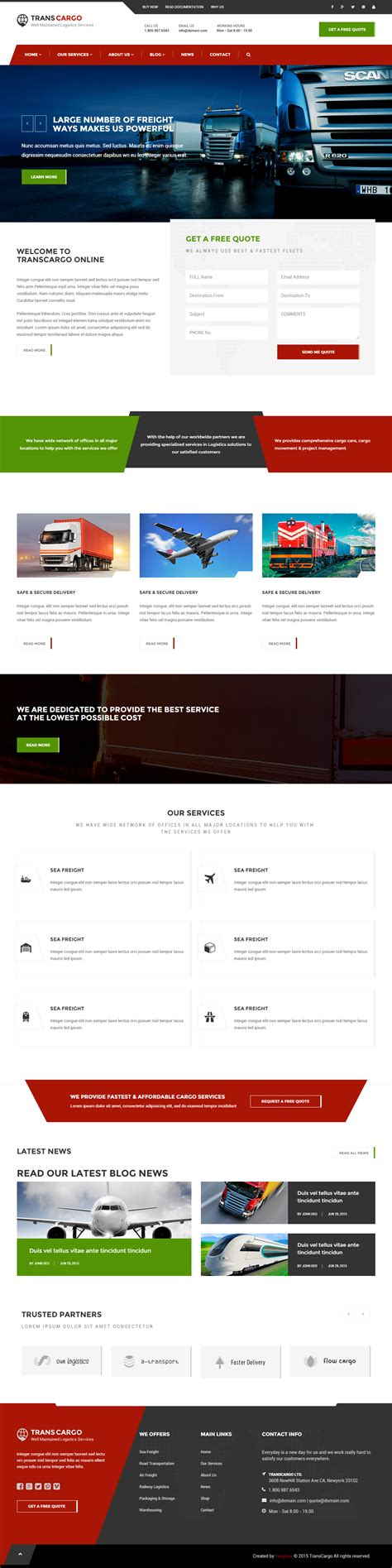 bootstrap templates for logistics 10 best transportation website templates 2017