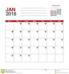 Kalender 2018 Januari Februari Kalender Voor Januari 2018 Vector Illustratie Afbeelding