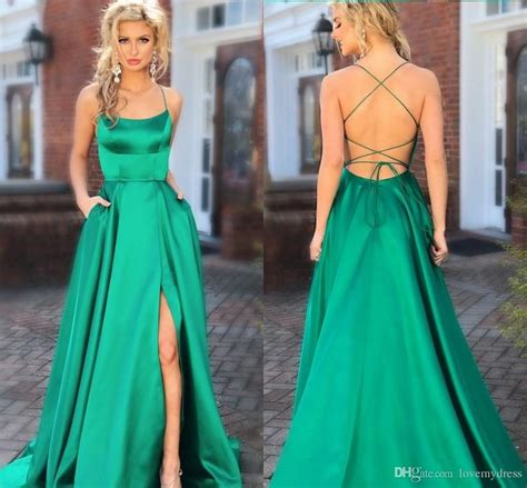 simple green prom dresses backless cheap  side slit
