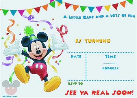 mickey mouse birthday invitation card template free mickey mouse 1st birthday invitations bagvania free