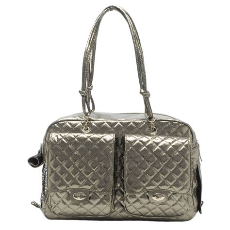 puppy carrier purse alex bag by kwigy bo gunmetal snake silver luxury pet carriers at glamourmutt
