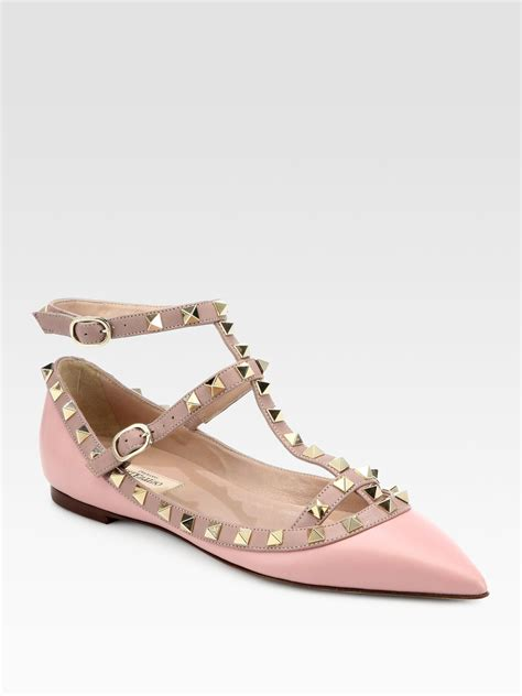 valentino shoes flats valentino leather rockstud cage flats in pink light pink