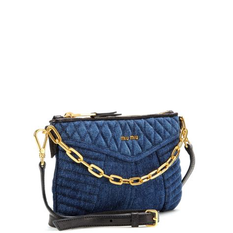 Shoulderbag Denim Onepiece miu miu quilted denim shoulder bag in blue lyst