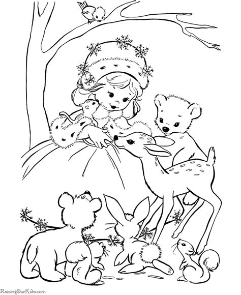 christmas coloring pages printables of animals