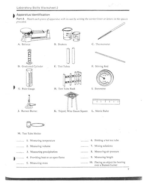Science Lab Safety Worksheet by 11 Best Images Of Lab Equipment Worksheet Answers