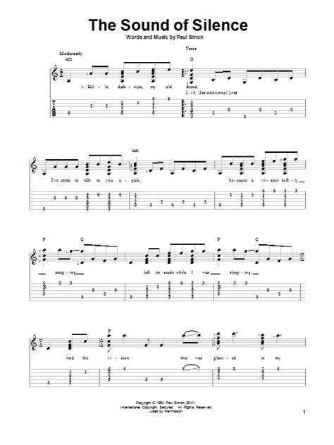 printable lyrics sound of music the sound of silence sheet music direct