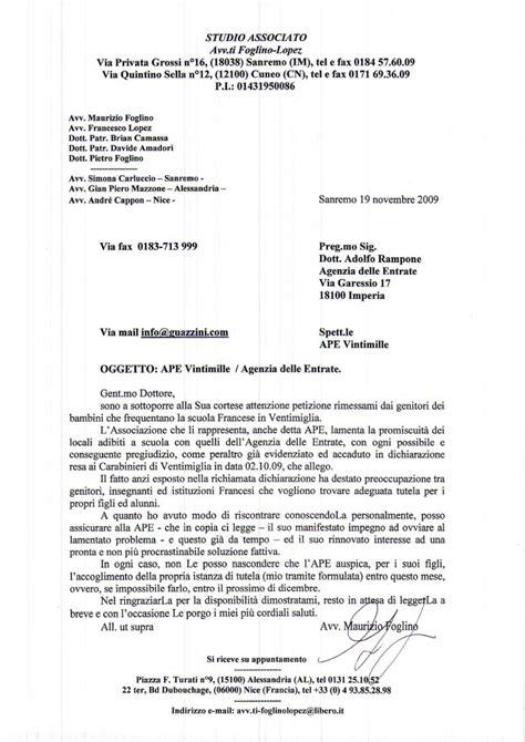 lettere ufficiali agenzia delle entrate da
