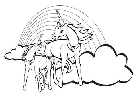 coloring pages of rainbows and unicorns two unicorn with a rainbow at their back coloring page