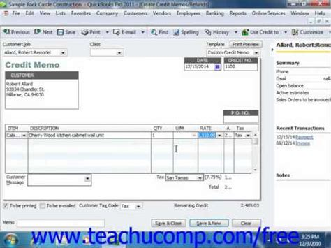 Credit Note Template Quickbooks Quickbooks 2011 Tutorial Creating A Credit Memo And Refund Check Intuit Lesson 11 1