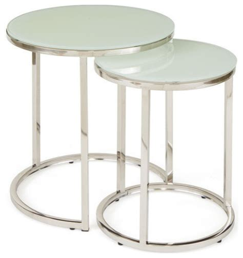 White Coffee Table Set by Shop Houzz Go Home Ltd White Glass Nesting Tables