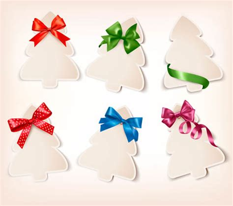 3d paper christmas tree with ribbon paper tree with ribbon cards vector 01 vector card vector vector
