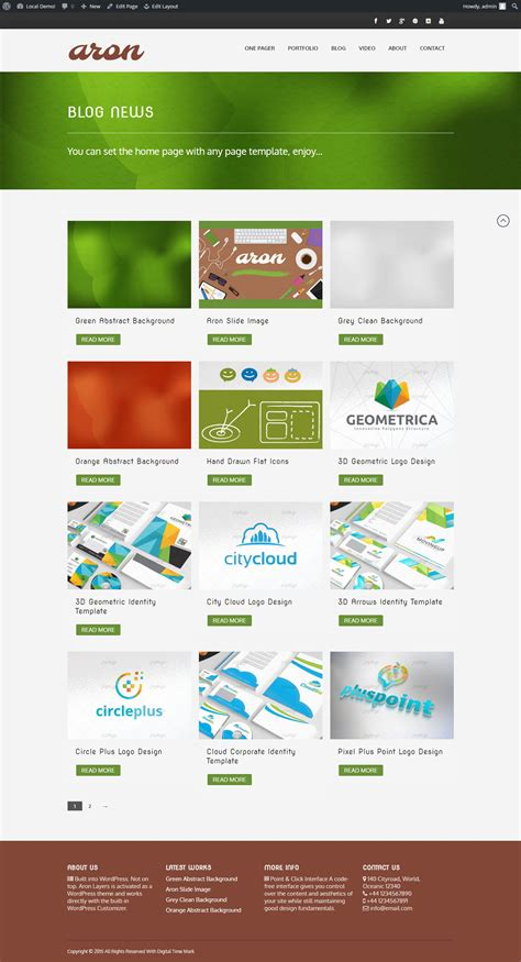 aron one page theme builder wp wordpress business themes