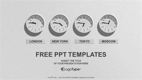 powerpoint themes clock time 4 clocks business powerpoint templates