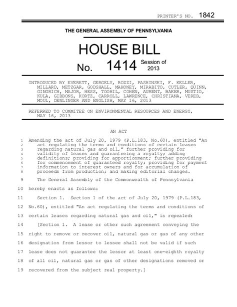house bill pa house bill 1414 transparency of deductions from royalty checks