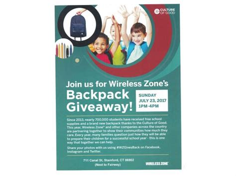 Good Giveaways For Events - culture of good backpack giveaway stamford ct patch