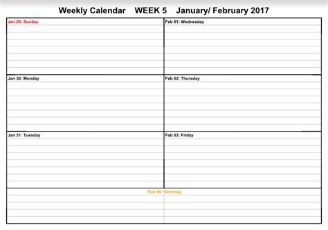 Get Calendar January 2017 Weekly Calendar Free Templates Get