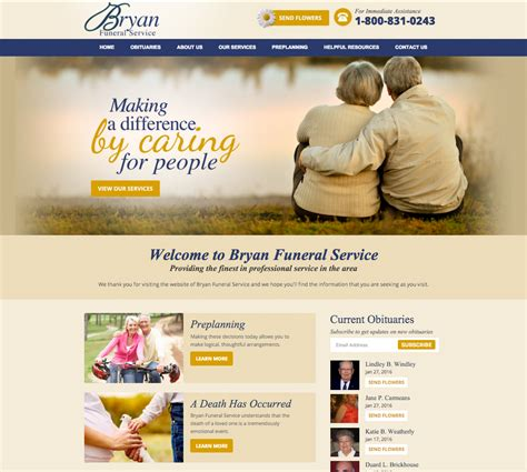 homes websites funeral home website design directors advantage