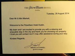 our welcome letter picture of fitzwilliam hotel dublin