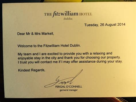 welcome card template hotel our welcome letter picture of fitzwilliam hotel dublin