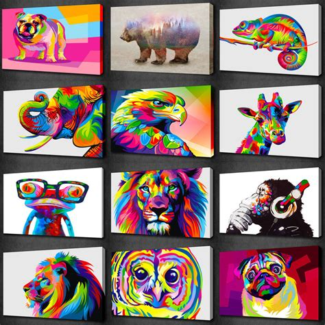 colorful canvas colourful animals collection canvas wall print picture