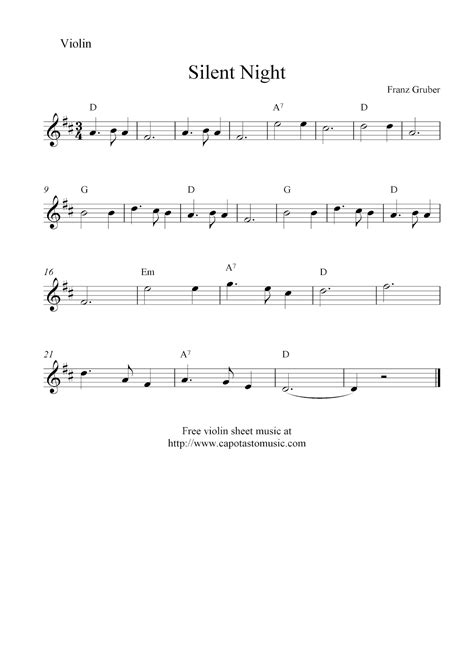 printable christmas violin sheet music free silent night free christmas violin sheet music notes
