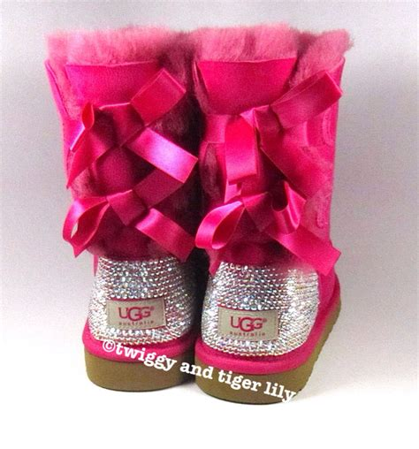 pink ugg boots with bows ugg bailey bow pink ugg boots with swarovski