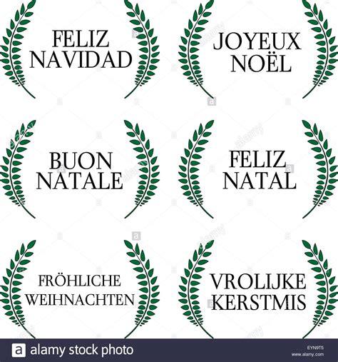 merry christmas laurels   languages  stock vector art illustration vector image